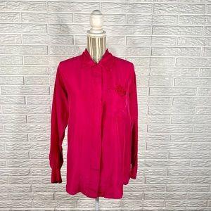 Vintage Casual Corner Pink Silk Button Up Shirt